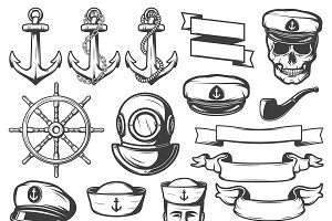 Vintage Sailor Naval Icon Set