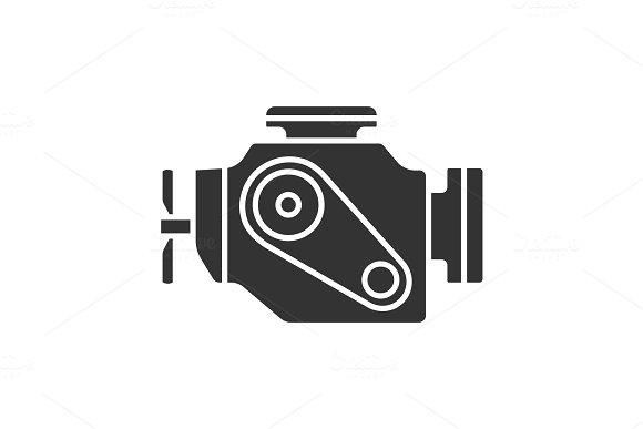 Car Engine Glyph Icon