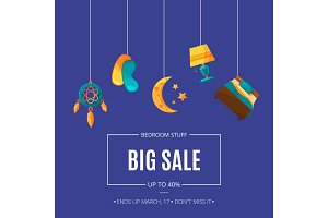 Vector sale background with cartoon sleep elements