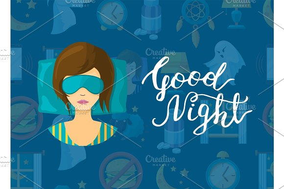 Vector With Cartoon Sleep Elements Sleeping Woman Person