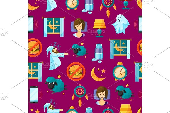 Vector Pattern Or Background Illustration With Cartoon Sleep Elements