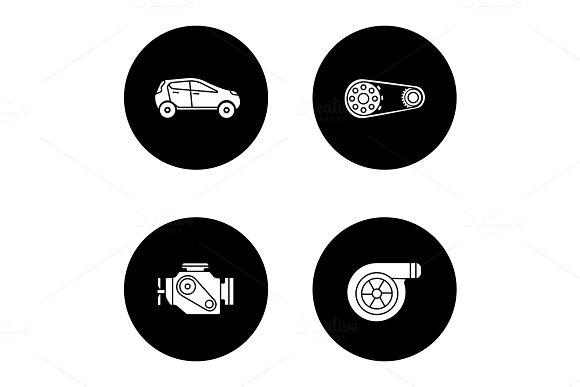 Auto Workshop Glyph Icons Set