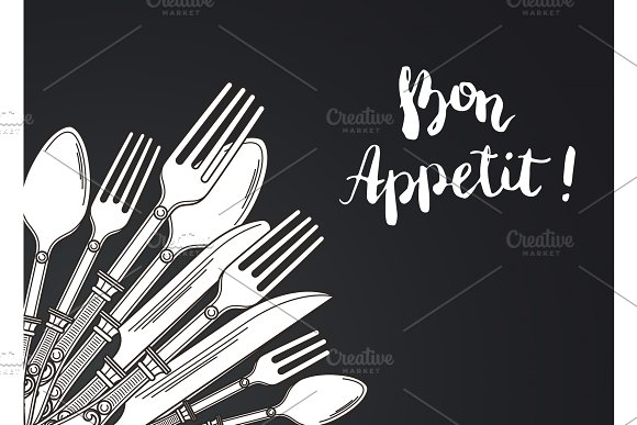 Vector Illustration With Hand Drawn Tableware On Black Background