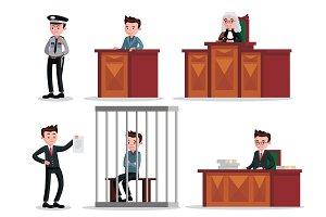 Judicial System Icons Set