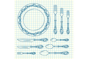 Vector set of hand drawn tableware