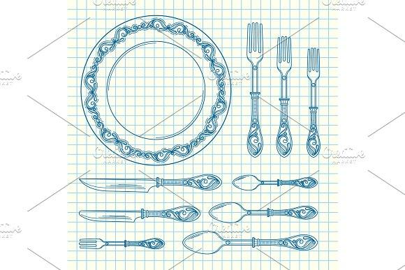 Vector Set Of Hand Drawn Tableware