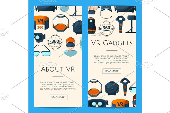 Vector Banners Illustration With Flat Style Virtual Reality Elements
