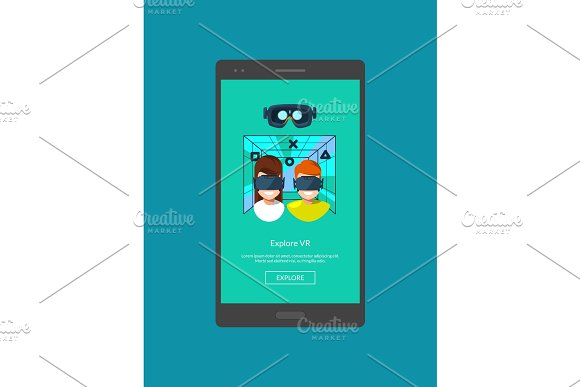 Vector Mobile Phone With Flat Style Virtual Reality Elements