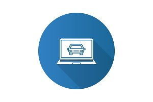 Laptop with car flat design long shadow glyph icon