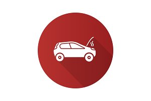 Broken car flat design long shadow glyph icon