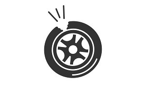 Punctured tire glyph icon