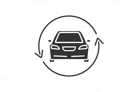 Car With Circle Arrow Glyph Icon