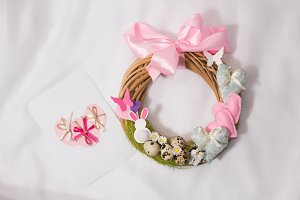 pink Easter wreath decoration