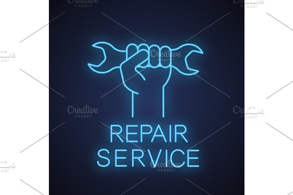 Hand Holding Wrench Neon Light Icon
