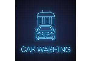 Car washing neon light icon