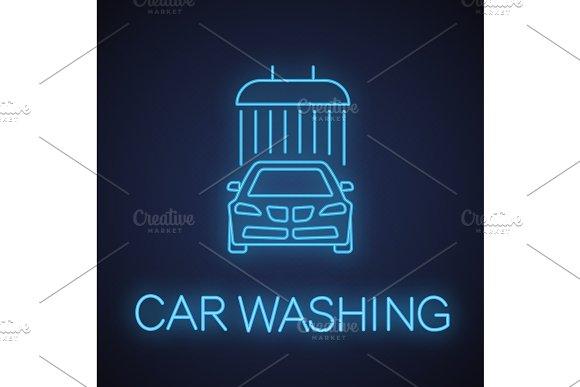 Car Washing Neon Light Icon