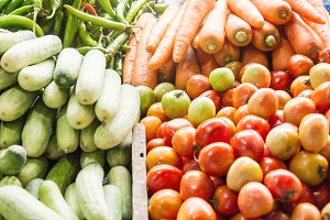 tomato, cucumber, carrot