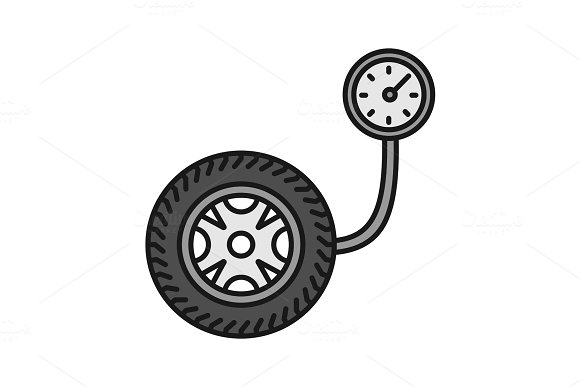 Tire Pressure Gauge Color Icon