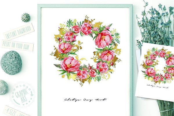 Red Peony Wreath Watercolor Print