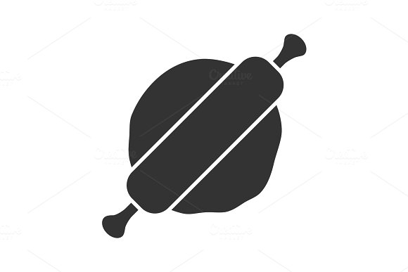 Rolling Pin And Dough Glyph Icon