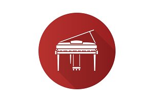 Piano flat design long shadow glyph icon