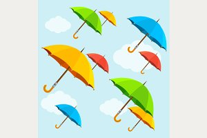 Vector colorful umbrellas fly