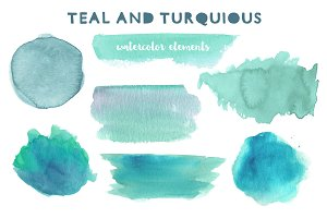 Turquoise watercolor clipart
