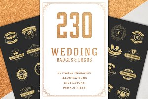 230 Wedding Logos and Badges Bundle