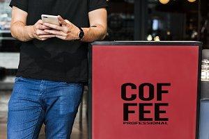Man waiting at a coffee shop (PSD)