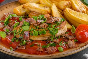 Chicken steak with herbs, homemade french fries