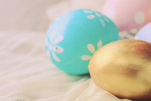 Pastel easter eggs on cloth