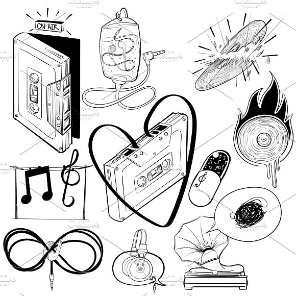Drawing Set Of Music Entertainment