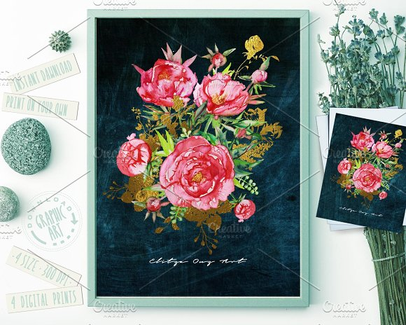 Bouquet Watercolor Peony Prints