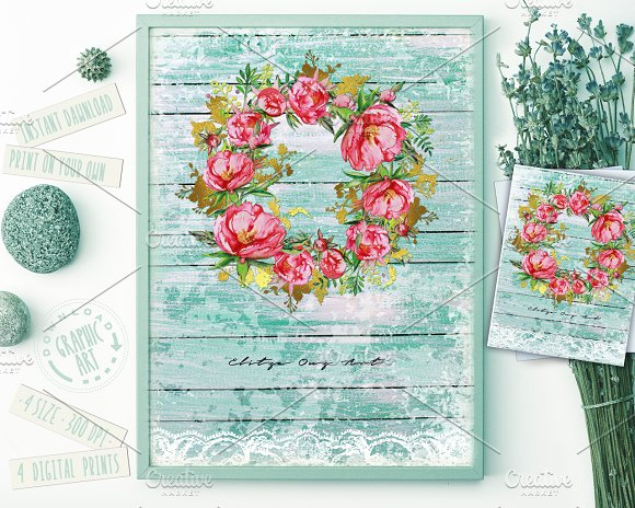 Peony Wreath Watercolor Print