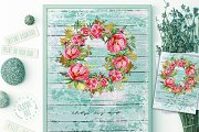 Peony Wreath Watercolor Print
