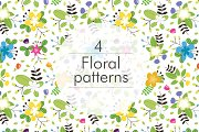 Floral seamless pattern 4 colors