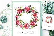 Peony Wreath Romantic Print