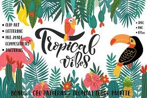 Tropical Clip Art & Patterns Set