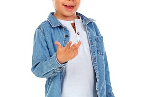 Funny child with denim shirt