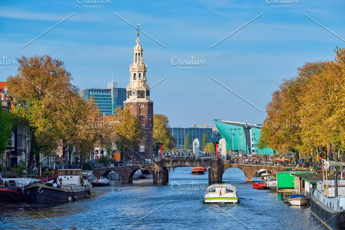 Amterdam canal, bridge and medieval houses in Graphics - product preview 8