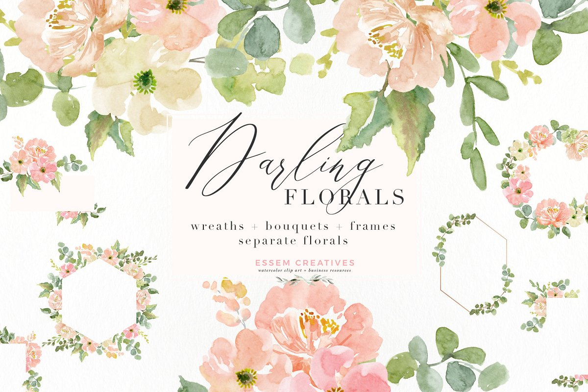 Wedding Invite Watercolor Flower Png Illustrations