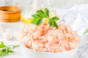 Raw  chicken minced meat