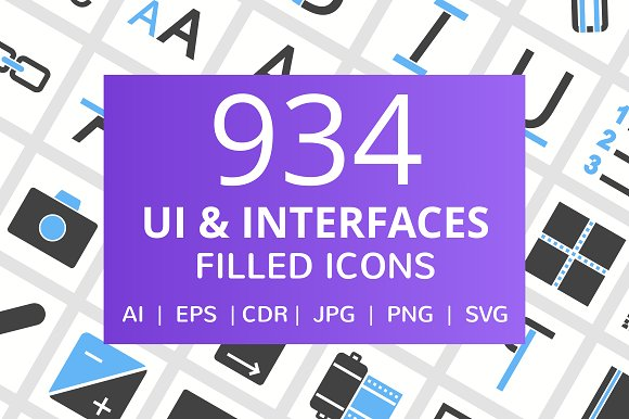 934 UI Interfaces Filled Icons