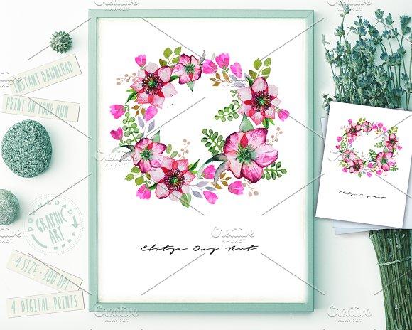 Wreath Watercolor Print