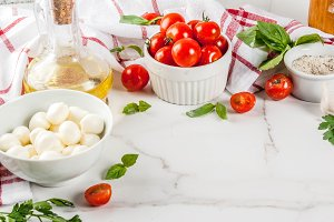 Pasta pizza italian food ingredients