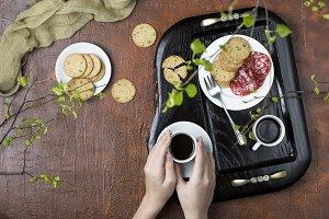 Breakfast on a wooden tray