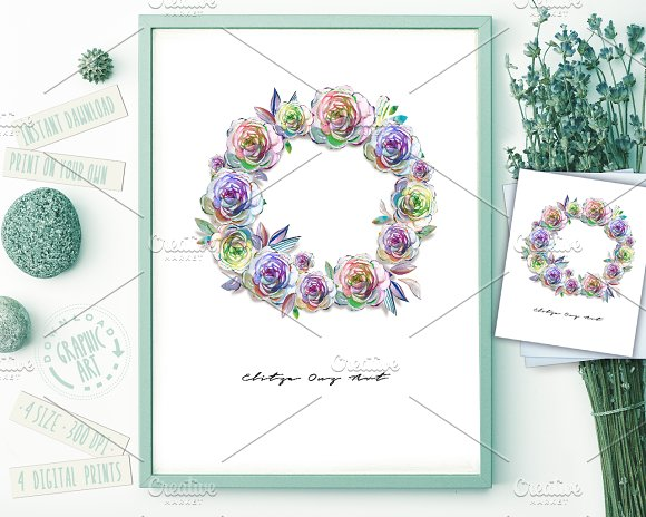 Wreath Watercolor Print