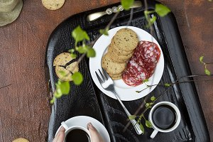 Breakfast on a wooden tray