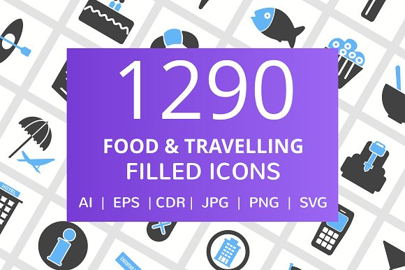 1290 Food Travelling Filled Icons