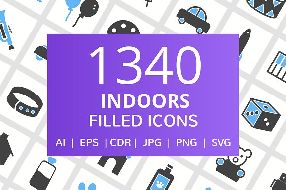 1340 Indoors Filled Icons